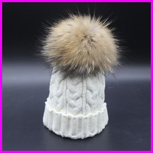 2016 New Fashion Winter Fur Hats For Women Ear Protect Wool Knitted Caps Women 18cm Fur Ball Beanies