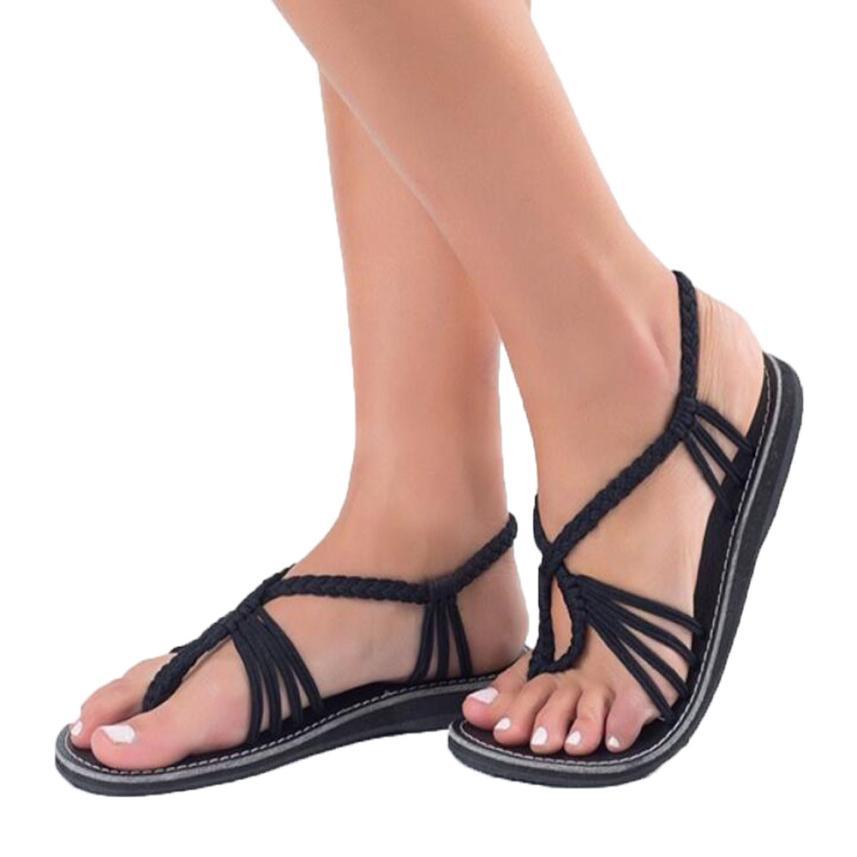 A6 Noir Femme Mujer Zapatos Sandales Eté Plates Chaussure Femmes H2e9WEDIYb