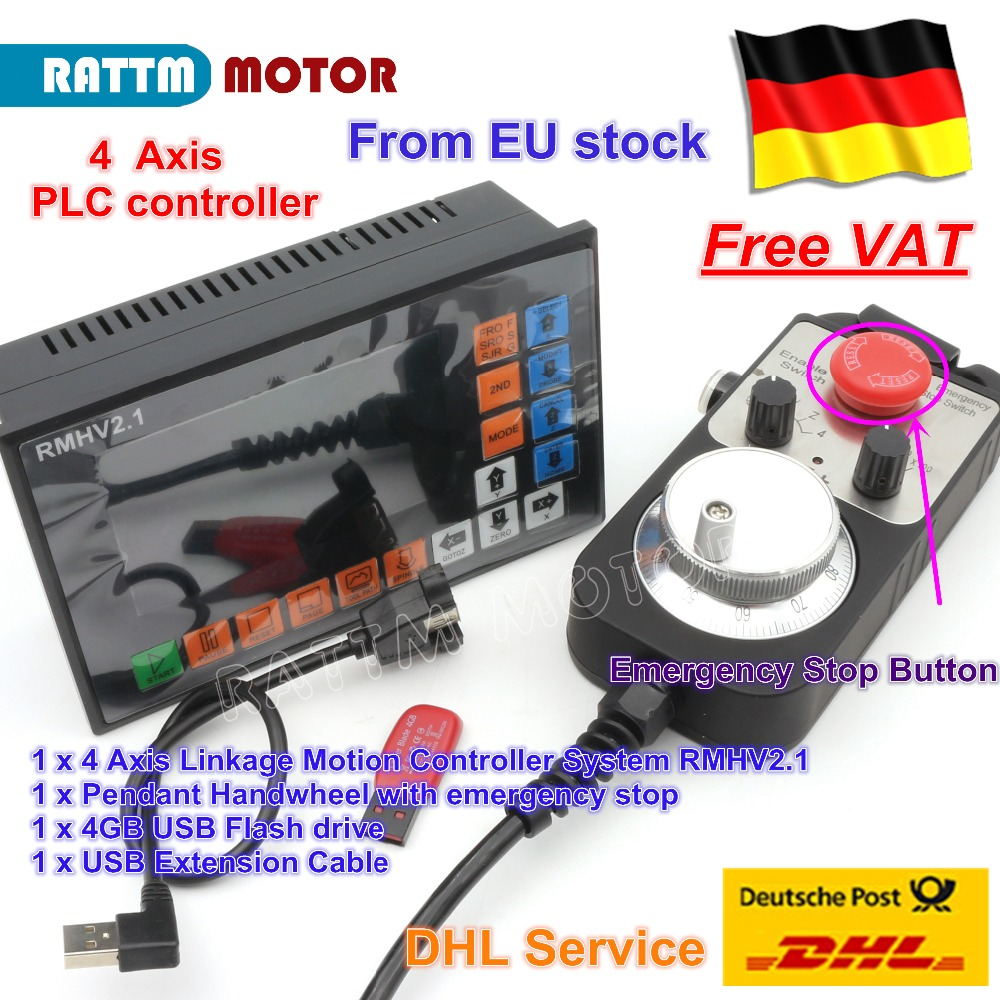 4 eixo PLC Controlador 500 KHz off-line & Pingente De Volante & botão De Parada de Emergência para CNC Router Gravura Moagem motor de passo da máquina
