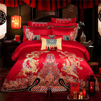 New 10pcs Bedding Sets King size bed covers and comforters Bed Linen Duvet Cover Bed Sheet Pillowcase red Embroidery bed Set
