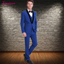 Linyixun New Arrival Groomsmen Shawl Black Lapel Groom Tuxedos Royal Blue Men Suits Wedding Best Man Blazer(China)