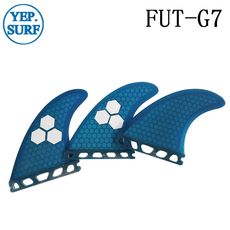 prancha quilhas de Surf Paddling Future Fins G7 Orange / Blue Color Fins Honeycomb Logo Fiberglass Fins Green Blue Orange