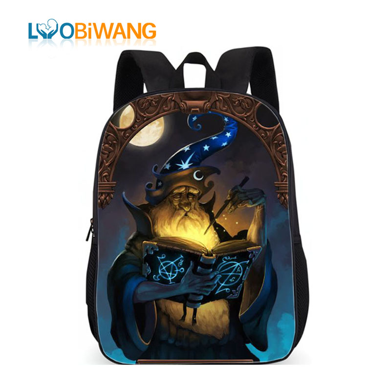 LUOBIWANG Wizard Printing Kids Backpack Girls Great Wizard Merlin Schoolbag For Teenager Boys And Girls Student School Bags