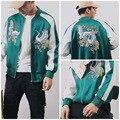 Homens jaqueta de marca 2016 outono novo homem mulheres cetim bordado retro cor hit jaqueta casaco moda outerwear hiphop A281