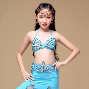 Children Stage Performance Children Belly Dancing Clothes 3-piece Outfit Bra, Belt, Skirt Girls Oriental Dance Costumes