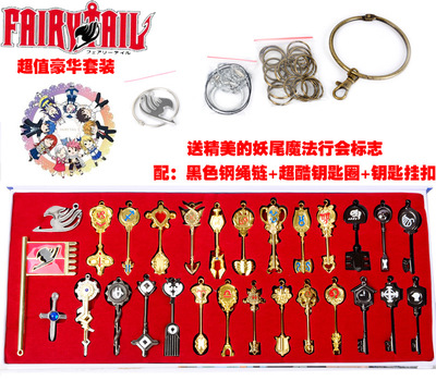 29pcs/set Anime Figure Fairy Tail Lucy Natsu Cosplay Key Keychain Brinquedos Action Figure Collectible Doll Toys anime fairy tail figure lucy heartphilia lucy gravure style figure 24cm pvc action figure toy collection model gift