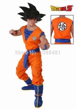 Juego de Dragon Ball Z Goku Cosplay Disfraces Top/Pantalones/Cinturón/Cola/wrister/Peluca adultos Niños