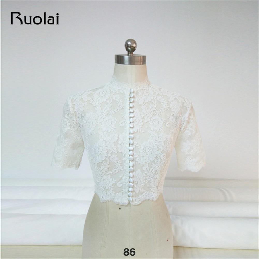 2019 White/Ivory Wedding Jacket High Neck Short Sleeve