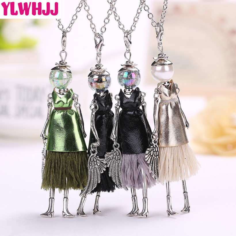 YLWHJJ New Cute Black Leather Doll Tassel Long Necklaces For Women  Brand Girls Pendant Alloy Maxi Fashion Jewelry Collier Femme