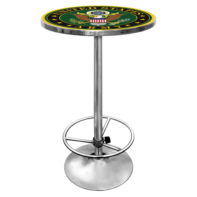 Merveilleux U.S. Army Symbol Chrome 42 Inch Pub Table