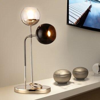 פשוט פוסט מודרני זוגי בראשות זכוכית שולחן אור סלון חדר שינה מחקר מנורת שולחן תעשייתי LED משרד שולחן מנורות LO71810
