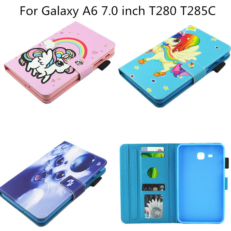 New Cartoon PU Leather Case For Samsung Galaxy Tab A a6 7.0 inch T280 T285 T285C SM-T280 Cover Tablet Fashion Funda Stand Shell 2016 new arrival leather case for samsung galaxy tab a a6 7 0 t280 t285 sm t280 cases cover tablet funda hand holder business