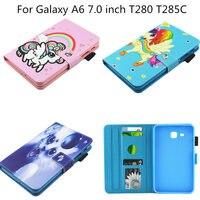 New Cartoon PU Leather Case For Samsung Galaxy Tab A A6 7 0 Inch T280 T285