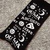 Gothic Moon Star Letter Print Black Women Fashion Death Rock Punk Long Stockings 1