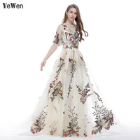 Embroidery champagne Evening Dress elegant for Women Sleeveless Long Sexy Half Sleeves Plus Size Prom Dresses 2018 Party gown