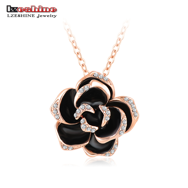 10a9b95d98525 LZESHINE Black Enamel Rose Flower Pendant Necklace Rose Gold Silver Color  Austrian Crystal Necklaces collar