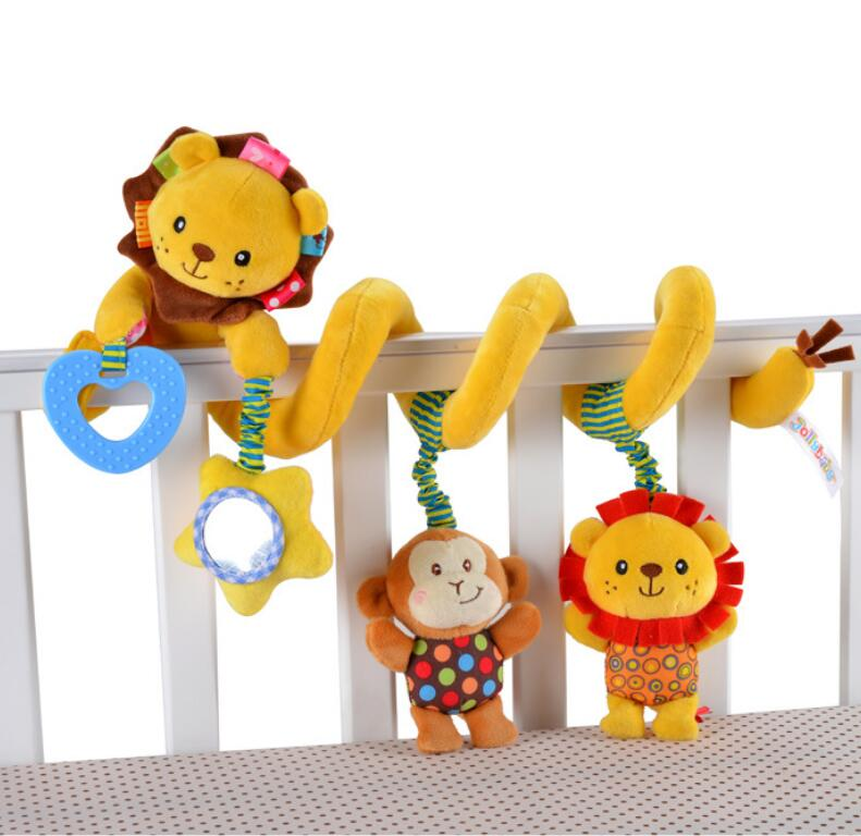 Jollybaby Baby lion Toys Rattle Stroller Toys Hanging Newborn Mobile infant Crib Plush revolves around with Teether shiloh crib stroller toy crib mobile baby plush doll infant children newborn boy girl gift with 60 songs musical box holder arm