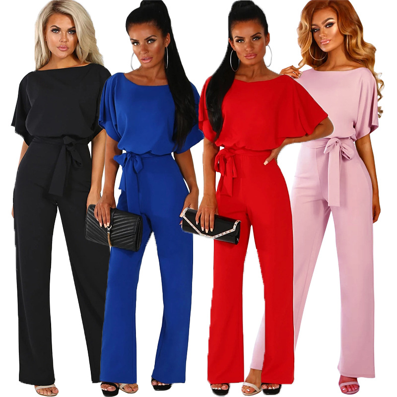 2019 Summer Women Office Work   Jumpsuits   Casual Black Red Blue Loose Rompers Female Streetwear Short Sleeve Plus Size   Jumpsuits
