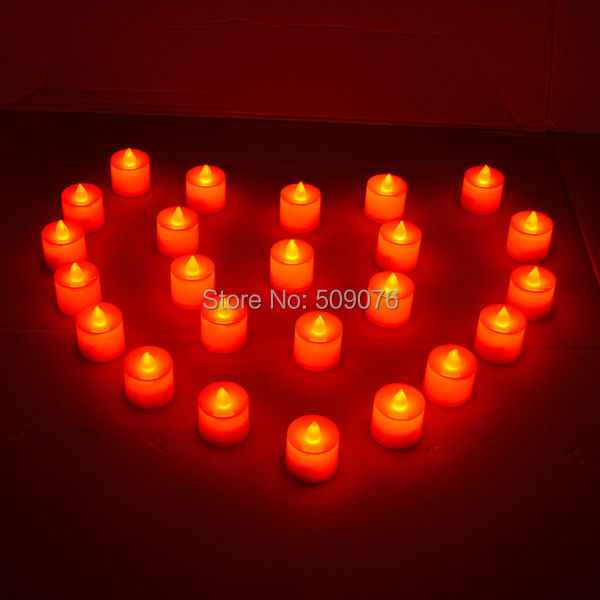 Free shipping 72pcs/lot red Romantic Electronic Candle Light Flameless Flickering LED Candle Tea Light Home Decoration Supplies