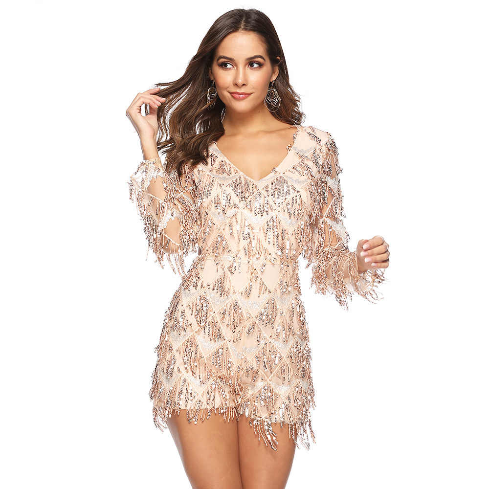 summer rompers womens jumpsuit shorts one piece outfit long sleeve sequin glitter romper plus size sexy fringe playsuit A2520