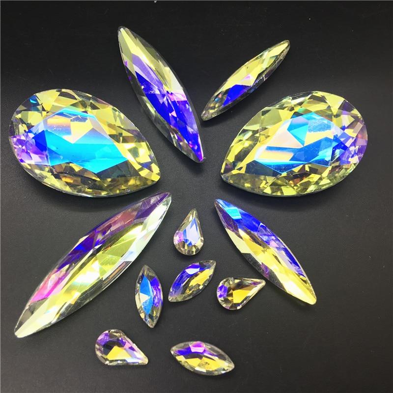 STN20 Vintage Art Deco Stones 163 Elongated Navette Clear Foiled /& Black Glass 16x3 stones