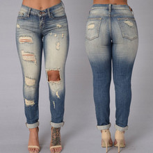 Women Ladies Denim Skinny Hole Destroyed Draped Pants High Waist Washed Stretch Bodycon Jeans Slim Pencil Trousers Rompers New
