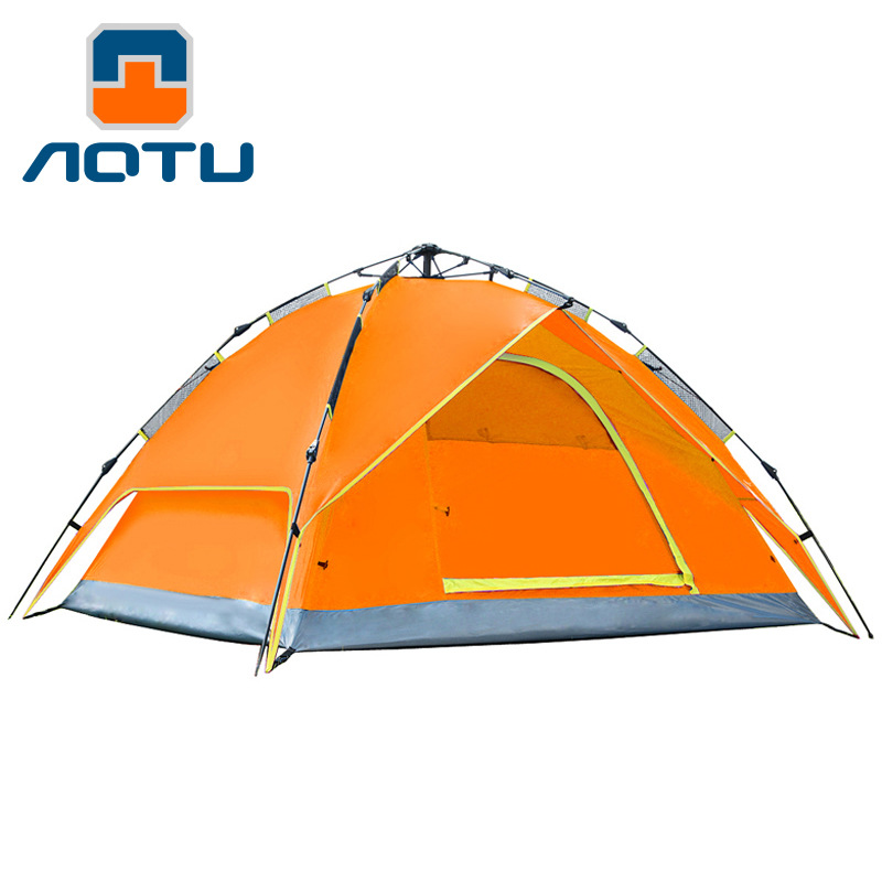 AOTU 3-4 person 210*210*150cm  automatic opening Double layer weather resistant outdoor camping tent for fishing, hunting 465 high quality outdoor 2 person camping tent double layer aluminum rod ultralight tent with snow skirt oneroad windsnow 2 plus