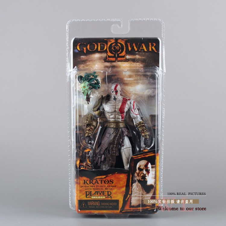 Free Shipping 7.5 God of War Kratos in Golden Fleece Armor with Medusa Head PVC Action Figure Collection Model Toy MVFG015
