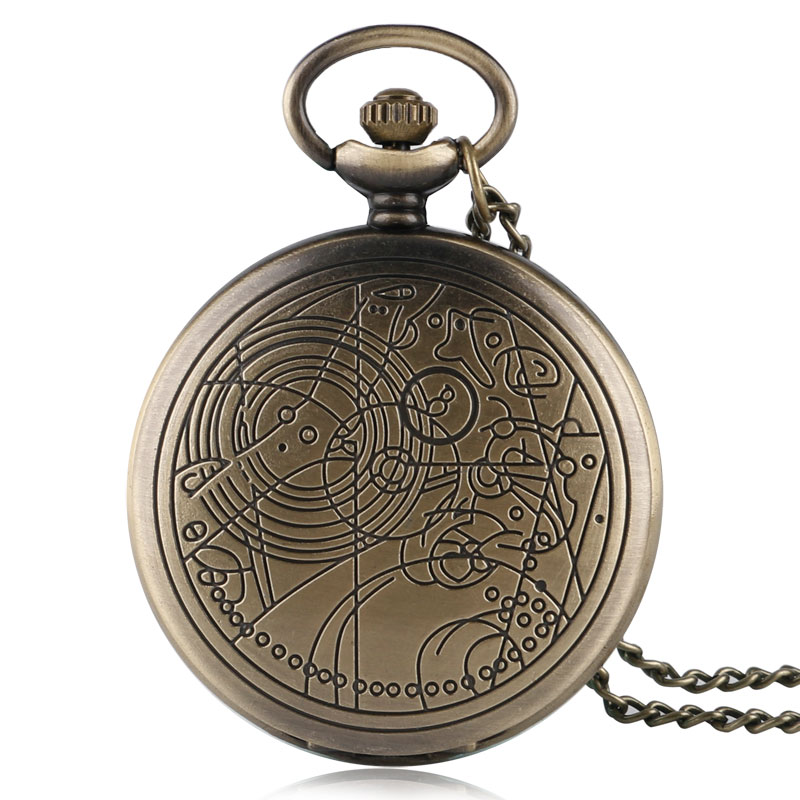 Bronze Vintage Quartz Doctor Who Pendant Antique Style Chain Gift Necklace Full Hunter Retro Chain Quartz Pocket Watch