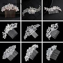 Fashion Rhinestone Crystal Bridal Hair Comb White Gold Plated A-Shape Leaf Wedding Accessories Jewelry Christmas Gift FS133