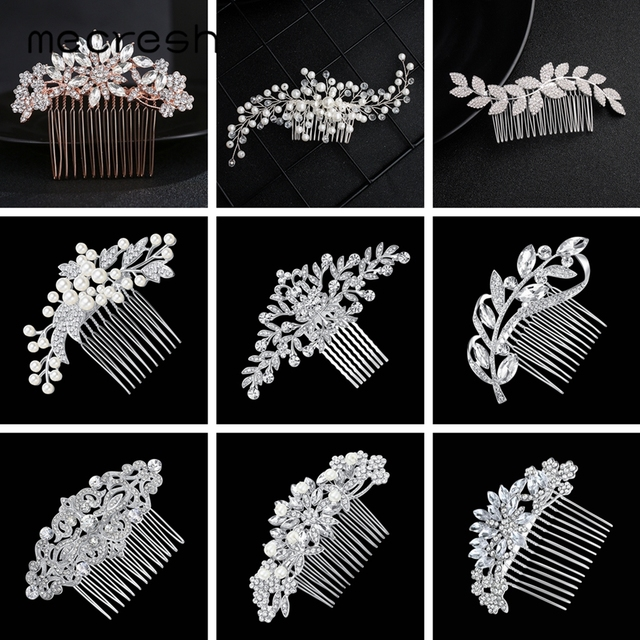 Mecresh Leaf Crystal Wedding Hair Accessories For Women Luxury Rhinestone Bridal Hair Combs 2019 Fashion European Design FS133
