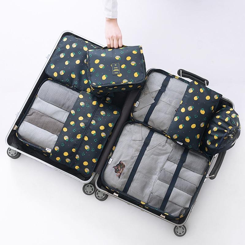 8pcs Travel Bag Set Mujeres Nylon Equipaje Viajes Cubos Set - Bolsas para equipaje y viajes