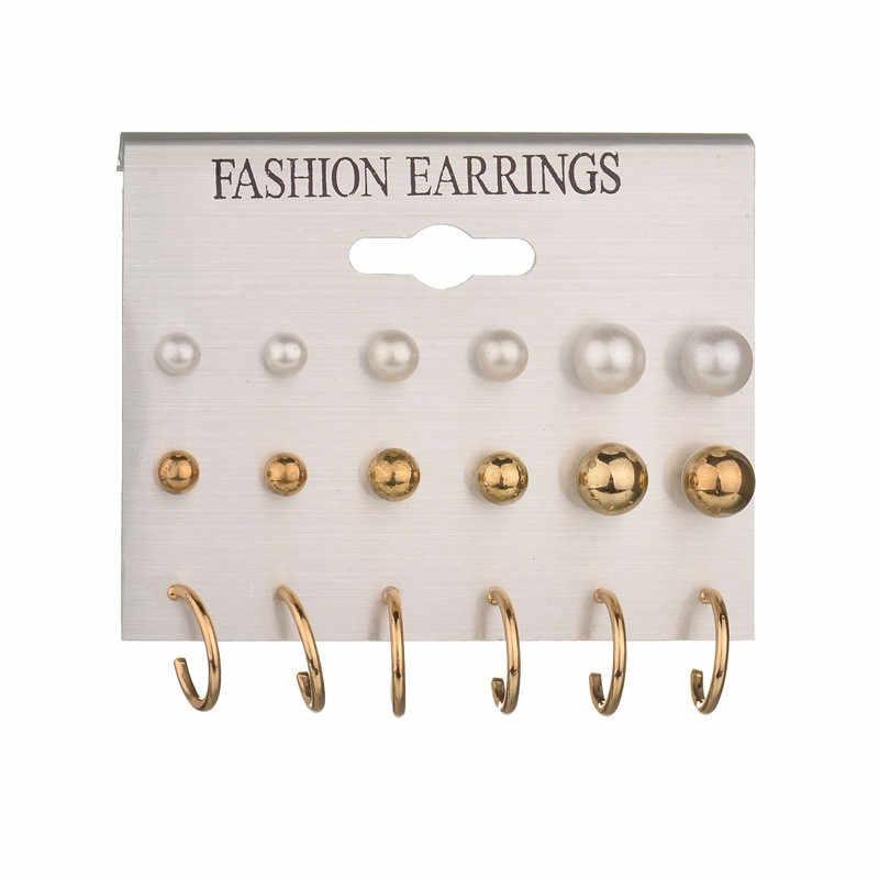 24 unids/set pendientes de broche de oro Vintage de flores de corazón Set 2019 nuevos pendientes de perlas de imitación de cristal para mujer regalo en joyería de oreja