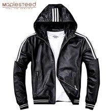 Mapesteed, мужская кожаная куртка с капюшоном, натуральная овчина, белая полоска, натуральная кожа, куртки, пальто с капюшоном для мальчиков, весна-осень, M183