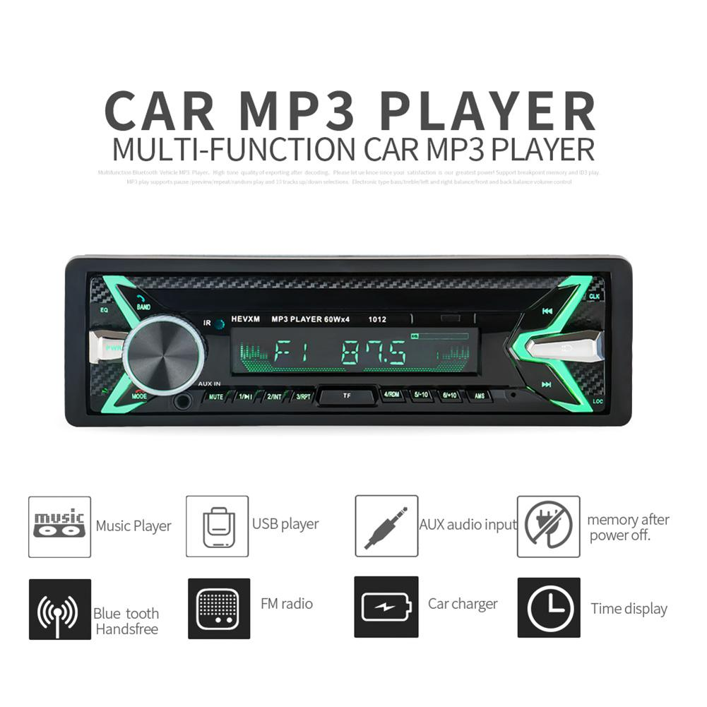 DC 12V Bluetooth Car Stereo Audio In-Dash FM MP3 Radio Player ISO Standard Interface AUX-IN SD USB MP3 MMC WMA 4*60W