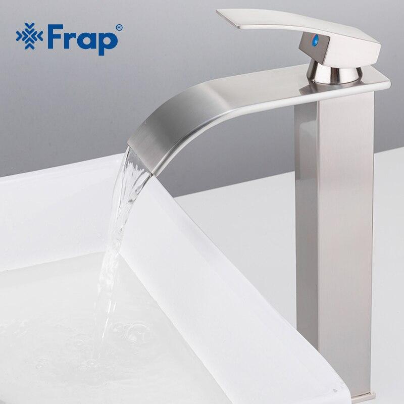 Frap Лидер продаж Никель матовый Ванная комната кран латунь одной ручкой горячей и холодной Ванная комната высокая раковина водопад кран бас...