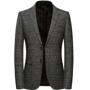 Wool Blazer Jacket With Elbow Patch Plaid Tweed Suit Jackets