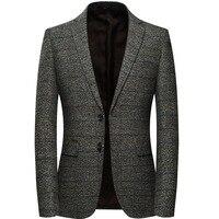 Men Wool Blazer Jacket With Elbow Patch Plaid Tweed Suit Jackets Slim Fit Casual Business Dress Blazer Male Elgland Style M 4XL