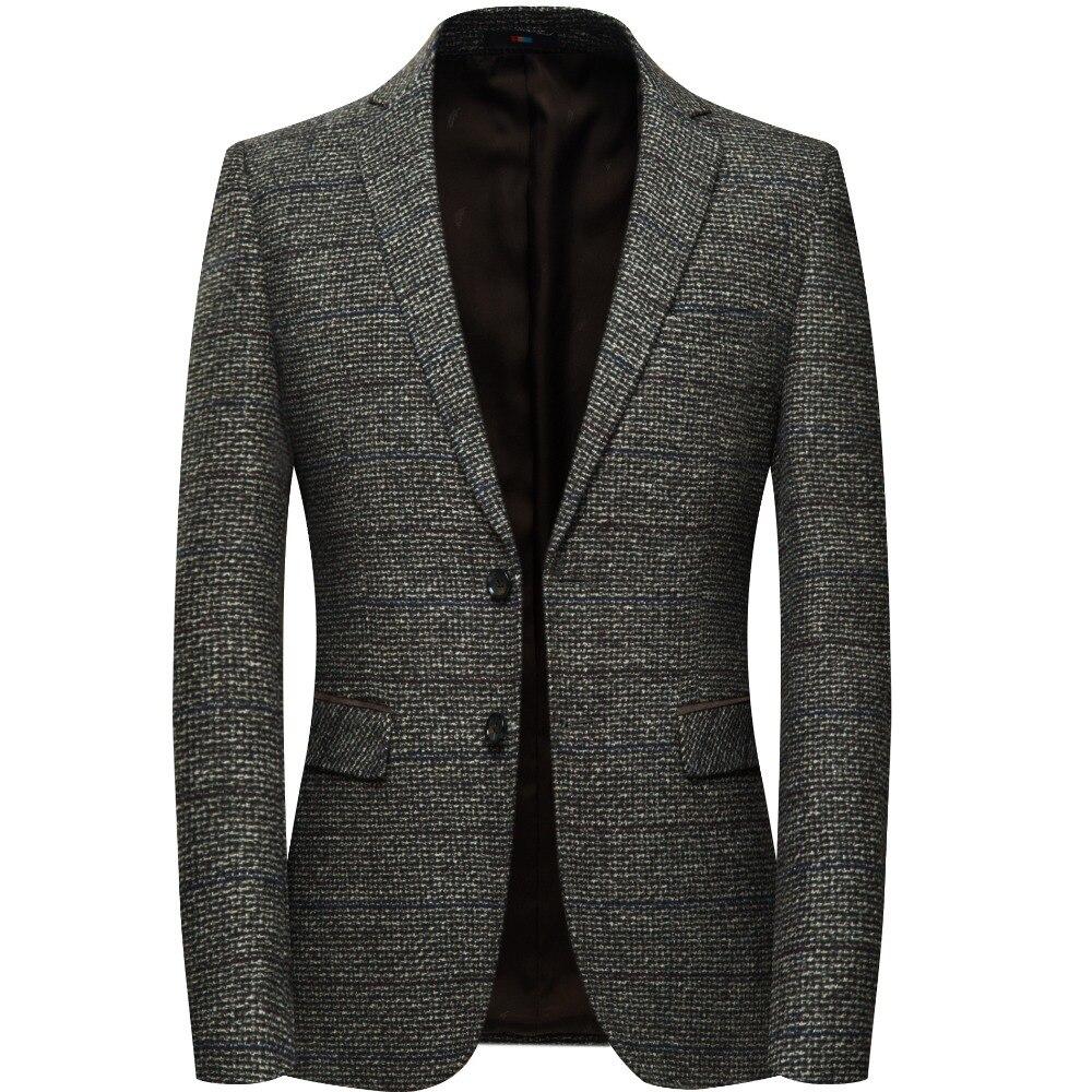 Los hombres de lana chaqueta Blazer con parche codo cuadros Tweed chaquetas de traje Slim Fit Casual de negocios vestido de chaqueta de hombre Elgland estilo m-4XL