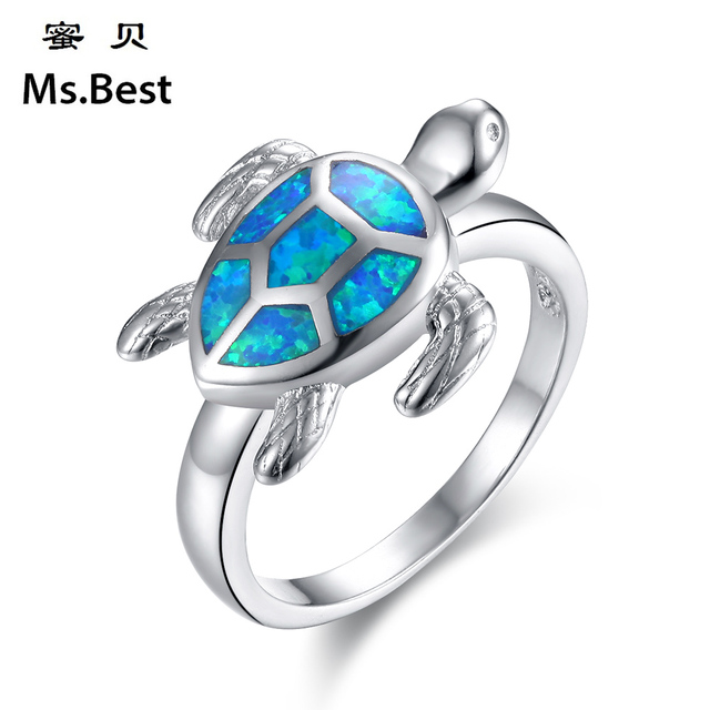 Turtle Blue Fire Opal Ring Women Fashion Jewelry Black Rhodium Plated