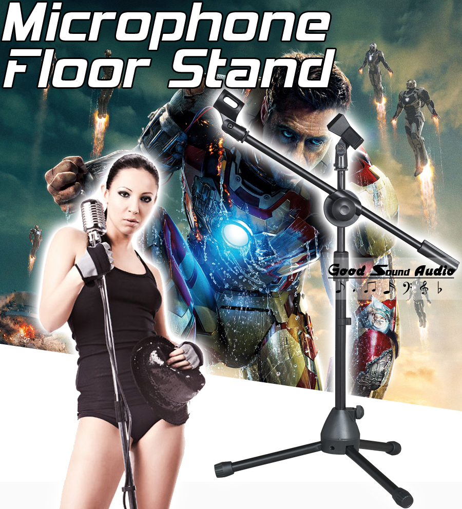 ФОТО Professional Adjustable Height Wired Dynamic Studio Recording Mic Holder For Singing KTV Wireless Microphone Stand Floor Tripod