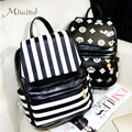 Estilo preppy Vintage preto branco listrado sólida zipper ferrolho femininos sacos de escola meninas adolescentes mochila mochilas mochilas de couro PU