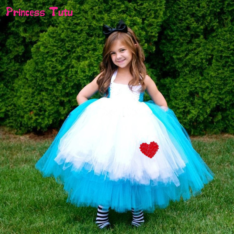 все цены на High Quality Princess Alice Dress Blue Baby Girl Cosplay Alice in Wonderland Tutu Dress Children Kids Halloween Party Costumes