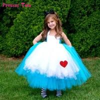 High Quality Princess Alice Dress Blue Baby Girl Cosplay Alice In Wonderland Tutu Dress Children Kids