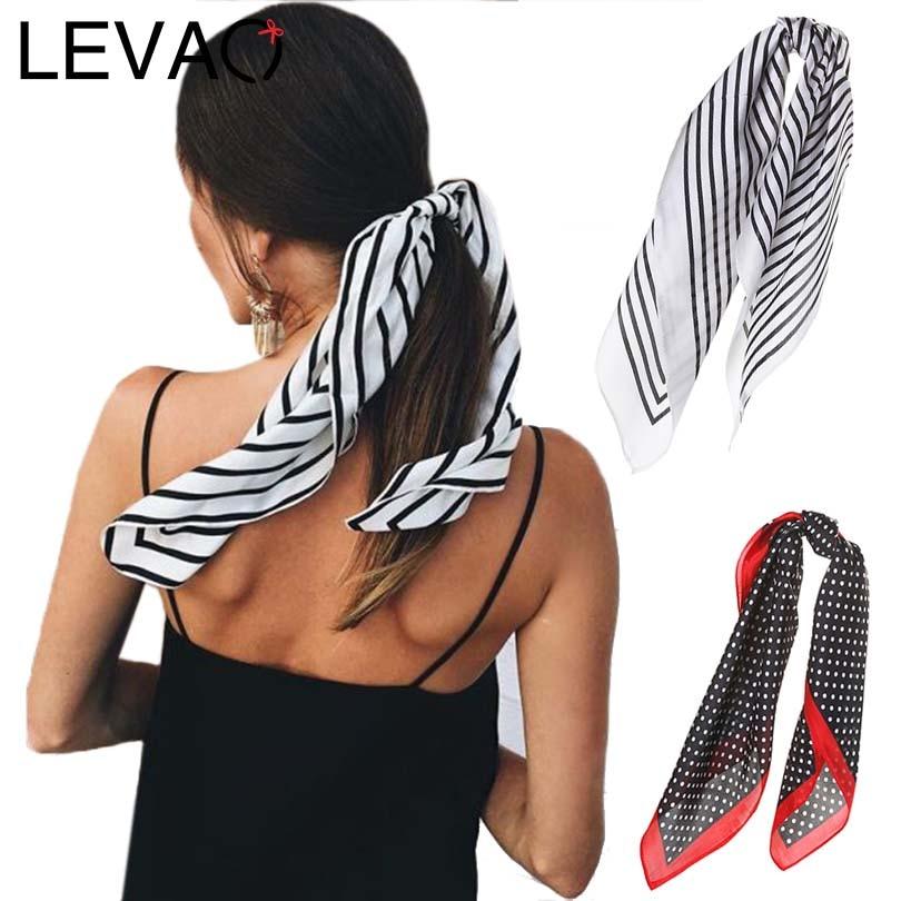 LEVAO Korea Fashion Print Handkerchief Hair Ribbon Hair Scarf Elastic Hair Band Women Headband Girls Headwear Hair Accessories