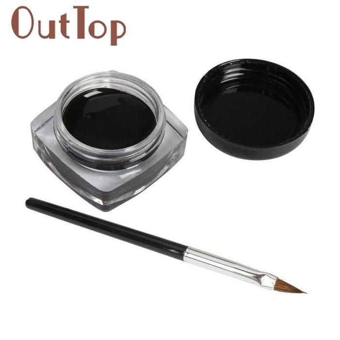 1 PC Mini Eyeliner Gel Cream Dengan Gratis Sikat Makeup Kosmetik Hitam Waterproof Eye Liner 3jan22