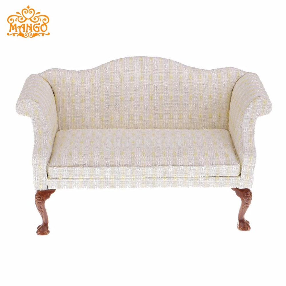 1//6 Wood Double Sofa Couch for Dolls House Furniture Action Figure Decor Red