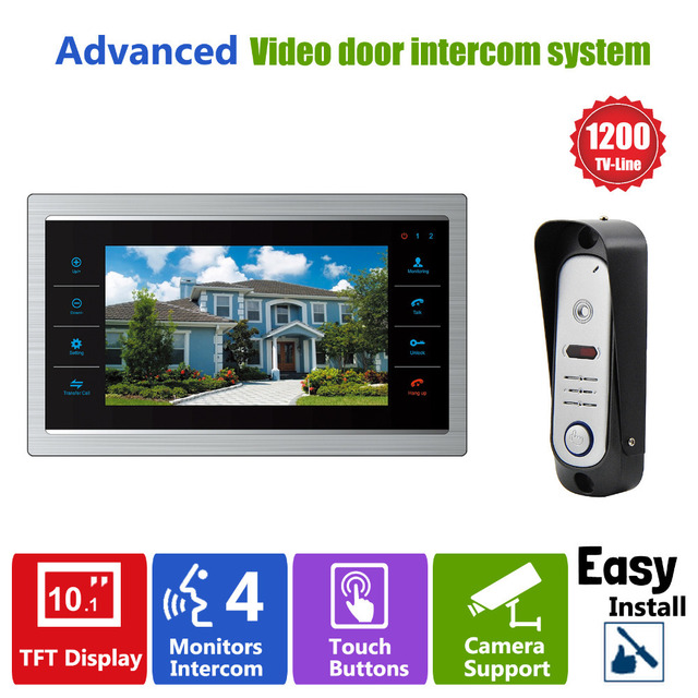 Homefong  10 TFT LCD Door Phone Video Doorbell System with  Camera  3.7MM Lens 1200TVL 1V1 Home Apartment Entry Kit