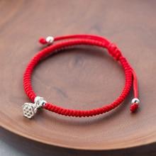 Drop Shipping Red Rope Bracelets Handmade Knots Braided Adjustable Tibetan Bracelet True Silver 925 Lotus Seedpod Charm Bangles