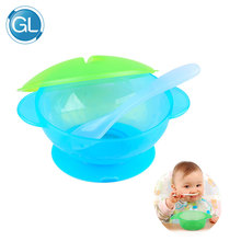 GL 2 Set / Pack Baby Feeding Bowl med skjevertrekk Baby Food Fruit Feeder Skål Anti Slip BPA Gratis Servise Servise Bowl